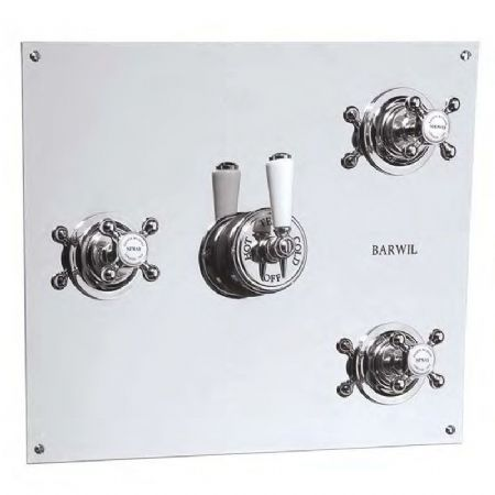 PS53C3 Barber Wilsons Recessed Thermostatic Shower Mixer On Square Plate With 3 Flow Valves